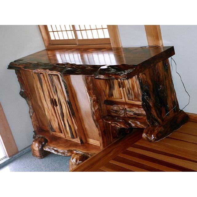 屋久杉製下駄箱|木製家具