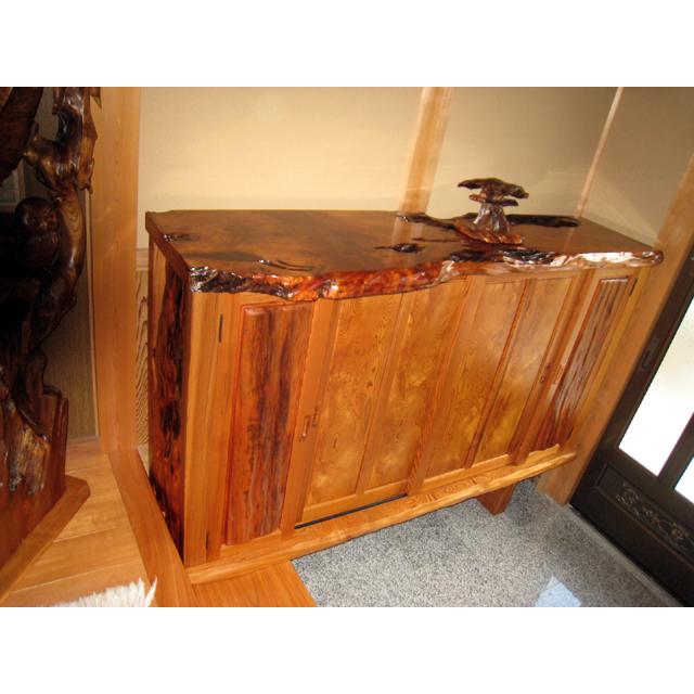 屋久杉製木製家具|下駄箱その5